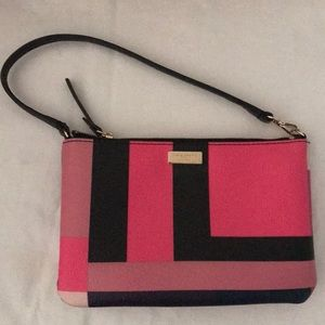 Kate Spade small mini purse bag black pink leather
